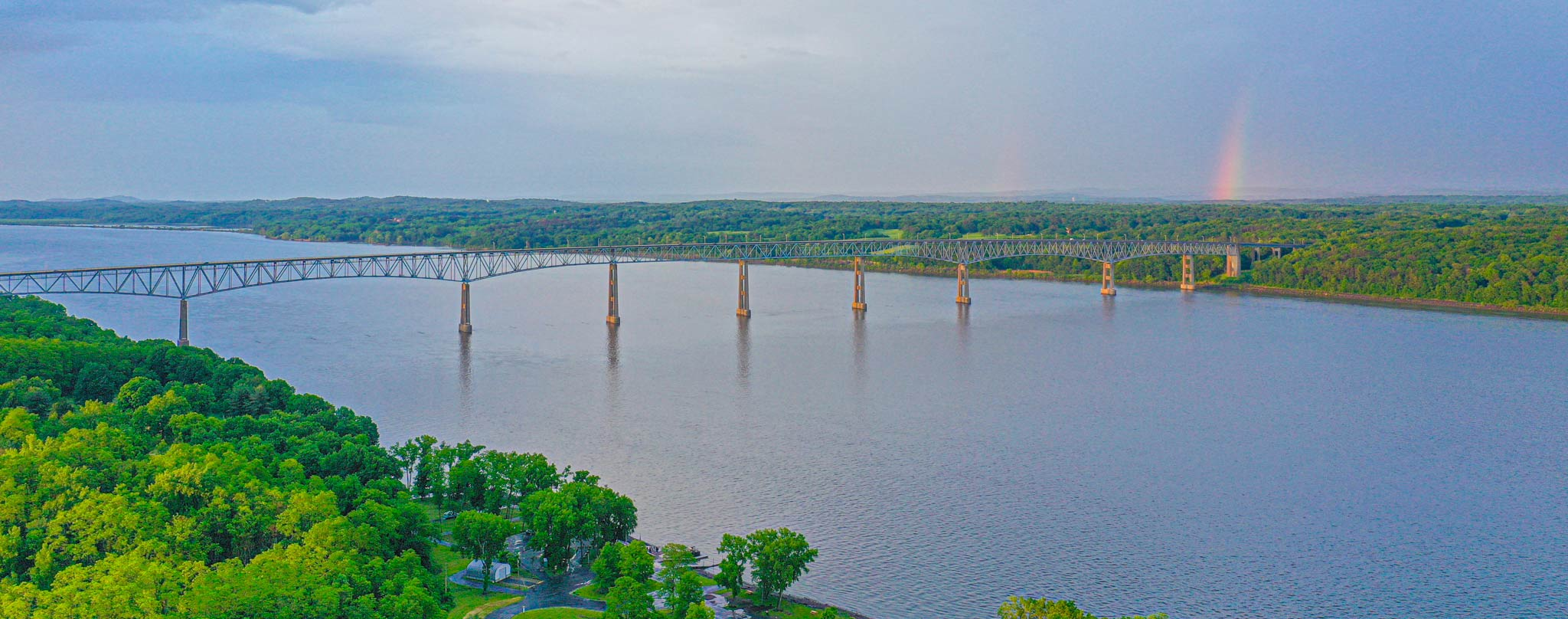 Kingston Rhinecliff Bridge with Rainbow